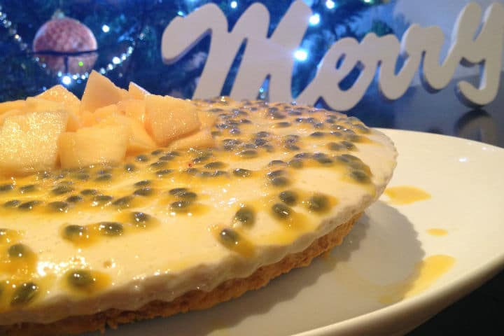 Mango and Passionfruit Dairy Free Cheesecake