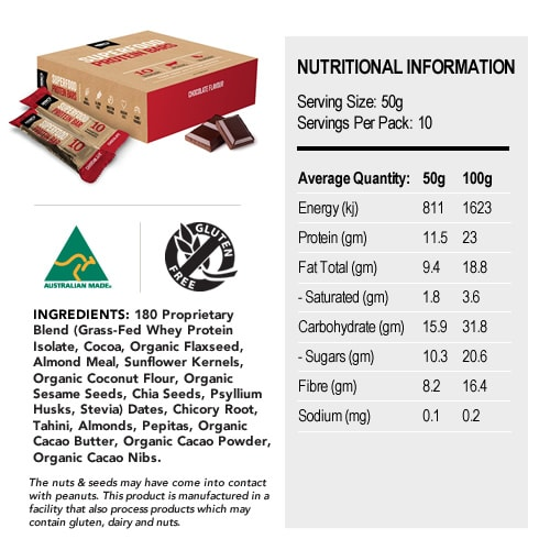Superfood Protein Bar Nutritional Panel