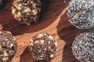 Snickers and Bounty Protein Bliss Balls